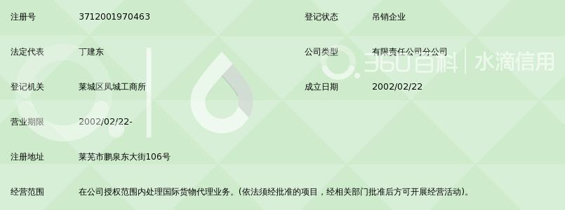 青岛中远国际货运有限公司莱芜办事处