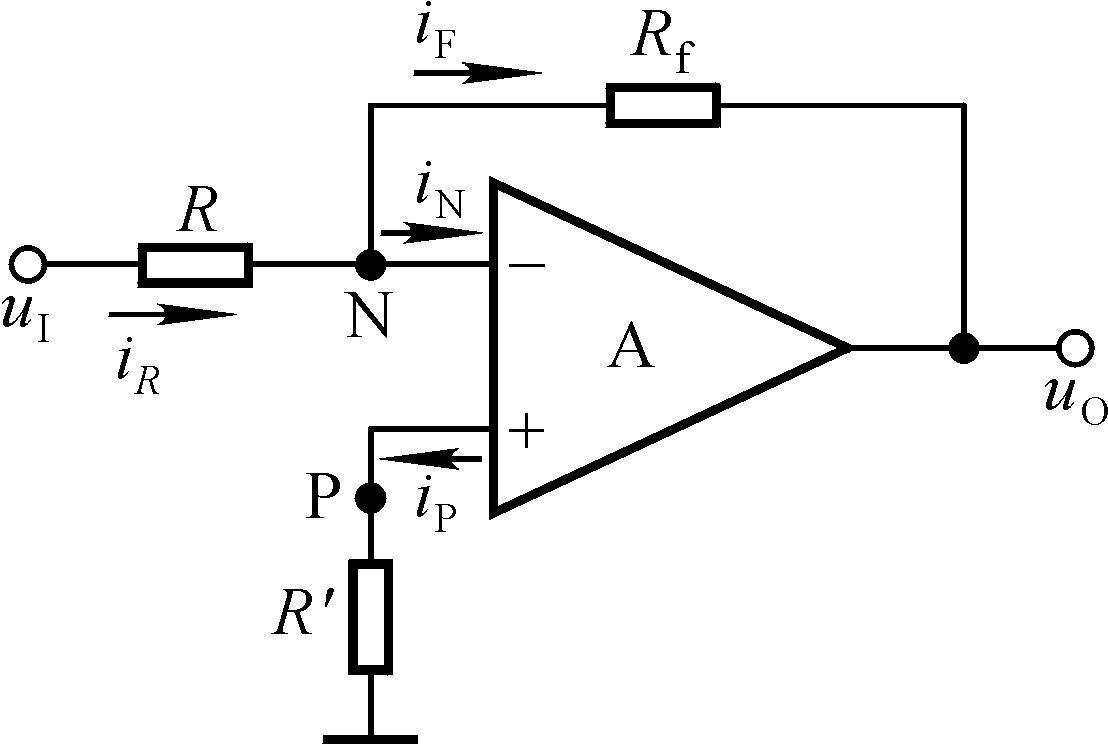 (1)反相比例运算电路 集成运放是一个已经装配好的